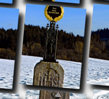 Wayside cross in winter scenery | landscape photography Sticker