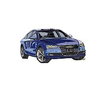 Audi A4 Pen and Ink Sketch Photographic Print