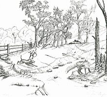 The Fox Hunt -Pen and Ink by Gordon Pegler