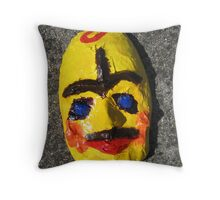 Grotesque Papier Mache Mask Project Throw Pillow