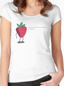 Strawberry humorism against blueberries Women's Fitted Scoop T-Shirt