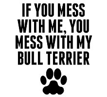 You Mess With My Bull Terrier Photographic Print