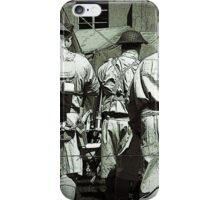 Dads army personnel preparing to go on parade in black and white. iPhone Case/Skin