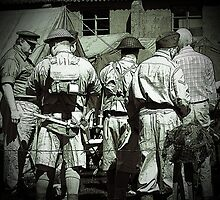 Dads army personnel preparing to go on parade in black and white. by Robert Gipson