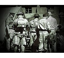 Dads army personnel preparing to go on parade in black and white. Photographic Print