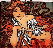 'Cycles Perfecta' by Alphonse Mucha (Reproduction) by Roz Abellera Art Gallery