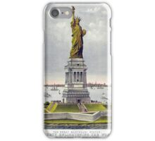 Currier and Ives chromolithograph of the Statue of Liberty published in 1885 iPhone Case/Skin