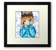 cold cute anime girl Framed Print