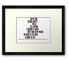 Overdone Broadway Songs Framed Print