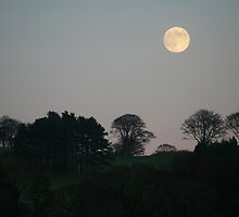 Midwinter moonrise over the Lune valley, Lancashire by R. F.  Simpson