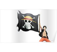 Luffy with the flag Poster