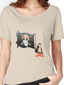 Luffy with the flag Women's Relaxed Fit T-Shirt