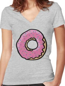 Donut with sprinkles Women's Fitted V-Neck T-Shirt