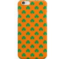 Heart-Shaped Shamrock Green on Orange St.Patrick's Day Clover iPhone Case/Skin