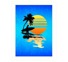 Surfing Sunrise Art Print