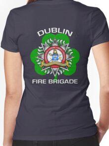 Dublin Fire Brigade w/ Shamrock Women's Fitted V-Neck T-Shirt