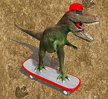 Skateboarding T-Rex by Packrat