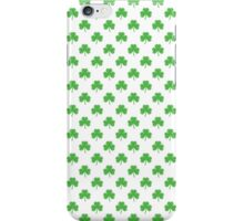 Green Heart-Shaped Clover on White St. Patrick's Day iPhone Case/Skin