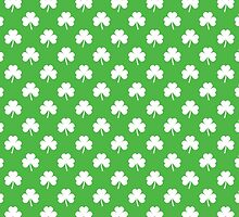 White Heart-Shaped Clover on Green St. Patrick's Day by podartist