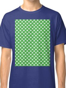 White Heart-Shaped Clover on Green St. Patrick's Day Classic T-Shirt