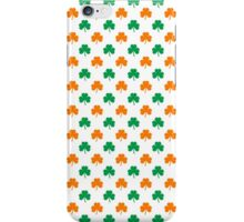 Orange And Green Heart-Shaped Shamrocks On White St. Patrick's Day iPhone Case/Skin