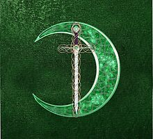 Green Celtic Moon And Celtic Sword by Packrat