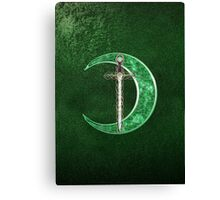 Green Celtic Moon And Celtic Sword Canvas Print