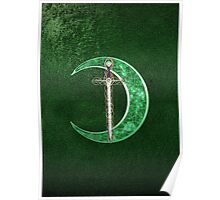 Green Celtic Moon And Celtic Sword Poster