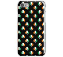 Irish Flag-Green/White/Orange-Colored Shamrocks On Black iPhone Case/Skin