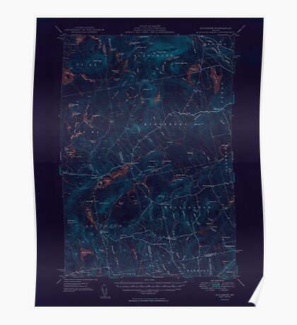 Maine USGS Historical Map Kingsbury 306631 1950 62500 Inversion Poster