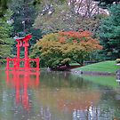 Temple in Japanies New York Botanical garden  by Meeli Sonn