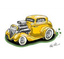 HOT ROD BEAST V8 CHEV STYLE yellow Photographic Print