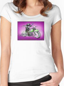 PSYCHEDELIC HARLEY STYLE MOTORCYCLE DESIGN Women's Fitted Scoop T-Shirt