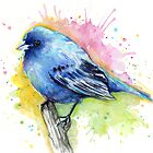 Indigo Bunting Watercolor  - Cute Blue Bird by OlechkaDesign