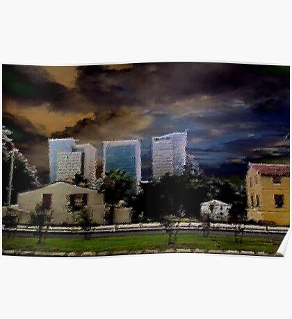 urban landscape under troubled skies Poster