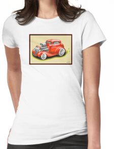 HOT ROD CAR CHEV STYLE RED Womens Fitted T-Shirt