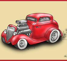 HOT ROD CAR CHEV STYLE RED by squigglemonkey