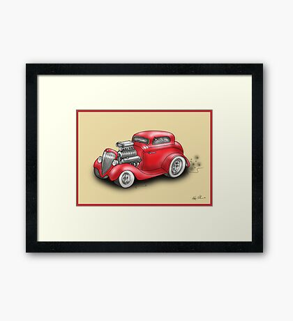 HOT ROD CAR CHEV STYLE RED Framed Print