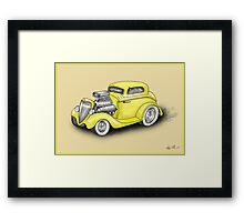 HOT ROD CAR CHEV STYLE YELLOW Framed Print