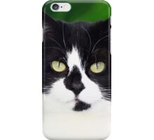 Black and white cat looking at camera iPhone Case/Skin