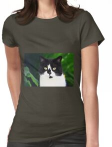 Black and white cat looking at camera Womens Fitted T-Shirt