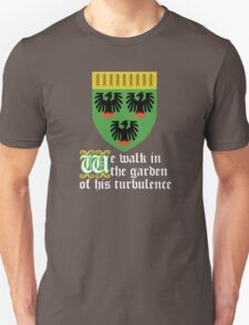 We walk in the garden of his turbulence (white) T-Shirt