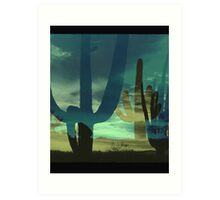 Arizona Saguaros - Sunset Digital Art Art Print