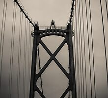 Lions Gate Bridge Abstract Black And White by Eti Reid