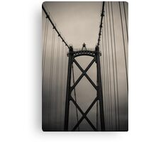 Lions Gate Bridge Abstract Black And White Canvas Print