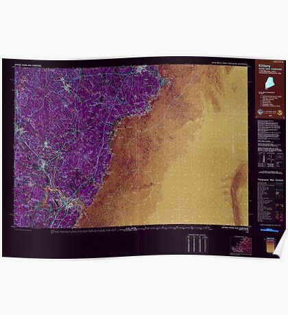 Maine USGS Historical Map Kittery 808006 1985 100000 Inversion Poster