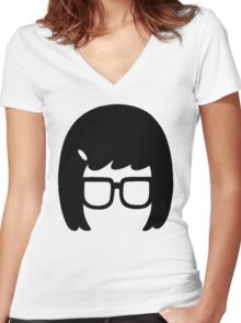 The Girl with the Glasses Women's Fitted V-Neck T-Shirt