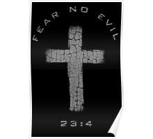 Fear No Evil - Cross (Gray) Poster
