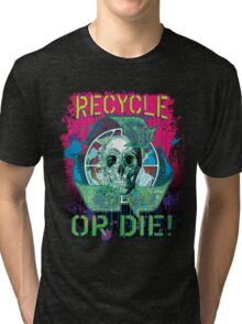 Recycle or Die Earth Day Skull Gear Tri-blend T-Shirt