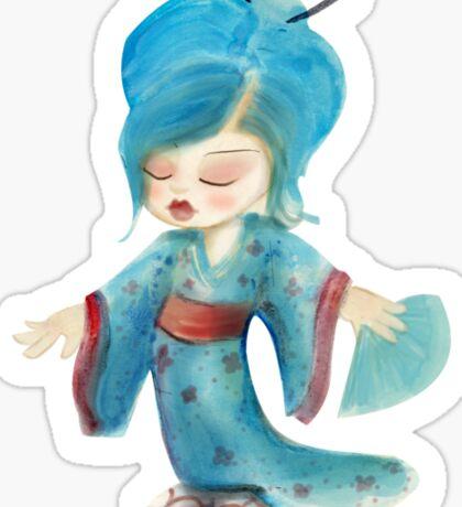 chibi girl in kimono Sticker